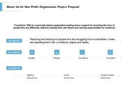 About Us For Non Profit Organization Project Proposal Ppt Powerpoint Designs