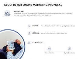 About Us For Online Marketing Proposal Mission Ppt Powerpoint Presentation Show