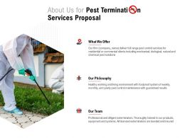 About Us For Pest Termination Services Proposal Ppt Powerpoint Presentation Icon Deck