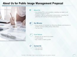 About Us For Public Image Management Proposal Ppt Powerpoint Presentation Pictures