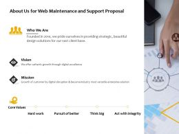 About Us For Web Maintenance And Support Proposal Ppt Powerpoint Presentation Show