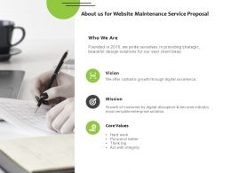 About Us For Website Maintenance Service Proposal Ppt Powerpoint Slides