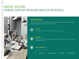 About Us For Website Support Retainer Service Proposal Ppt Aids