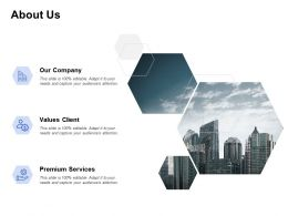 About Us Our Company Premium Services C98 Ppt Powerpoint Presentation Icon Outline