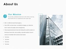 About Us Our Mission C1008 Ppt Powerpoint Presentation Infographics Outline