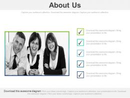 About Us Photo Box With Checklist Powerpoint Slides