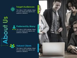 About Us Preferred By Many Target Audiences Ppt Powerpoint Presentation File Example Introduction