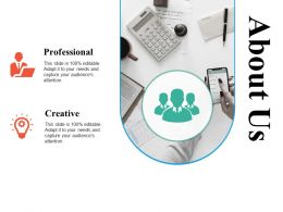 About Us Professional Creative Ppt Powerpoint Presentation Diagram Graph Charts