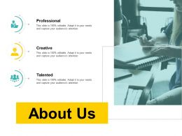 About Us Professional Creative Talented D41 Ppt Powerpoint Presentation Infographics Grid