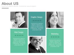 About Us Slide For Graphic Design Web Design And Networking Powerpoint Slides