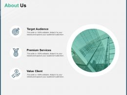 About Us Target Audience A145 Ppt Powerpoint Presentation Outline Portfolio