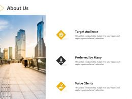 About Us Target Audience A400 Ppt Powerpoint Presentation Ideas Objects