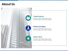 About Us Target Audience F400 Ppt Powerpoint Presentation Outline Slideshow