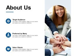 About Us Target Audience F454 Ppt Powerpoint Presentation Outline Sample