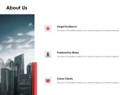 About Us Target Audience F820 Ppt Powerpoint Presentation Pictures Icon