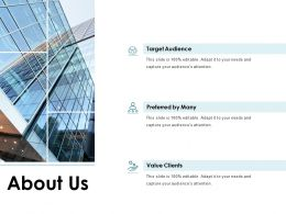 About Us Target Audience J189 Ppt Powerpoint Presentation File Files