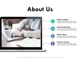 About Us Target Audience Ppt Powerpoint Presentation Outline Portfolio