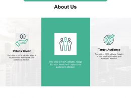 About Us Target Audience Values Client C647 Ppt Powerpoint Presentation Examples