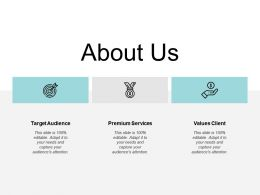 About Us Target Audience Values Client E199 Ppt Powerpoint Presentation File Examples