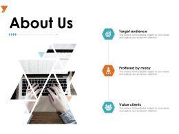 About Us Target Audiences A716 Ppt Powerpoint Presentation Portfolio Guidelines