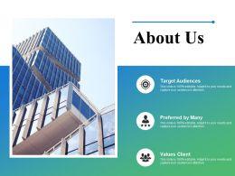 About Us Target Audiences Clients K1 Ppt Powerpoint Presentation Outline
