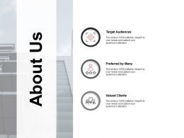 About Us Target Audiences Clients K67 Ppt Powerpoint Presentation Example
