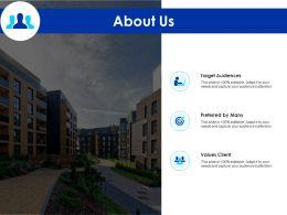About Us Target Audiences F284 Ppt Powerpoint Presentation Portfolio Background