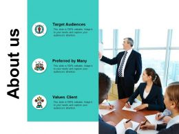 About Us Target Audiences J142 Ppt Powerpoint Presentation Diagram Ppt