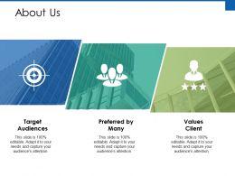 About Us Target Audiences Ppt Powerpoint Presentation Diagram Graph Charts