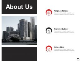 About Us Target Audiences Ppt Powerpoint Presentation Gallery Backgrounds
