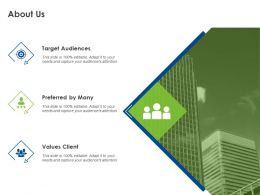 About Us Target Audiences Ppt Powerpoint Presentation Infographic Template Ideas