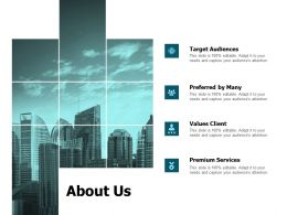 About Us Target Audiences Ppt Powerpoint Presentation Infographics Ideas