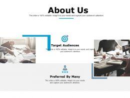 About Us Target Audiences Ppt Powerpoint Presentation Outline Graphics Design