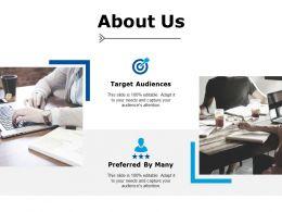 About Us Target Audiences Ppt Powerpoint Presentation Portfolio Elements