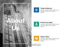 About Us Target Audiences Ppt Summary Designs Download