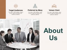 About Us Target Audiences Preferred By Many C479 Ppt Powerpoint Presentation Professional Diagrams