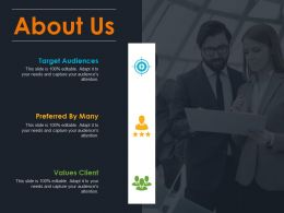 About Us Target Audiences Preferred By Many Values Client