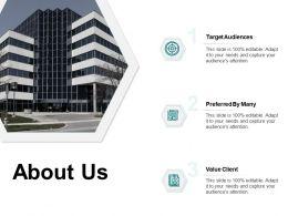 About Us Target Audiences Value Client E309 Ppt Powerpoint Presentation File Layouts