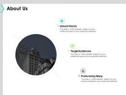 About Us Target Audiences Valued Clients C1040 Ppt Powerpoint Presentation Portfolio Example File