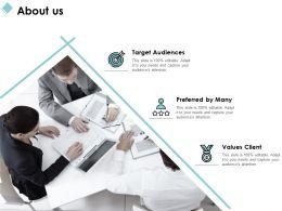 About Us Target Audiences Values Client C1019 Ppt Powerpoint Presentation File Outline