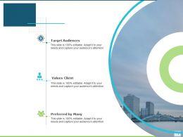 About Us Target Audiences Values Client D60 Ppt Powerpoint Presentation Ideas Outfit