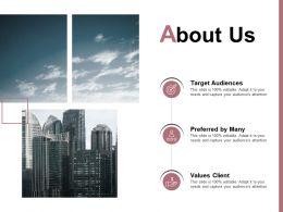 About Us Target Audiences Values Client E243 Ppt Powerpoint Presentation File Clipart