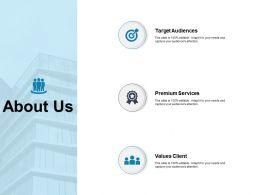 About Us Target Audiences Values Client K160 Ppt Powerpoint Presentation Ideas Clipart