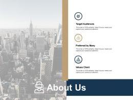 About Us Target Audiences Values Client Ppt Powerpoint Presentation Portfolio Deck