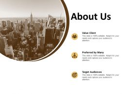 About Us Value Client F782 Ppt Powerpoint Presentation Outline Vector