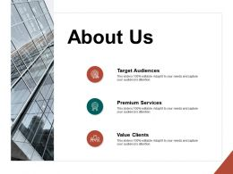 About Us Value Clients F196 Ppt Powerpoint Presentation Portfolio Grid