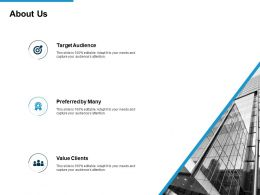 About Us Value Clients L717 Ppt Powerpoint Presentation Gallery Elements