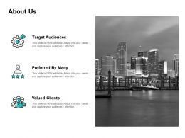 About Us Valued Clients L161 Ppt Powerpoint Presentation Summary