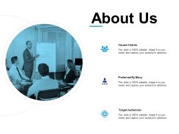 About Us Valued Clients L595 Ppt Powerpoint Presentation Icon