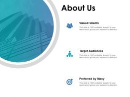 About Us Valued Clients Target K367 Ppt Powerpoint Presentation Icon Smartart
